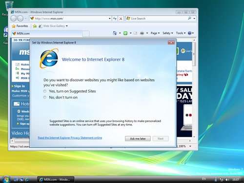03 Internet Explorer 8 - Windows 7 Ultimate Beta