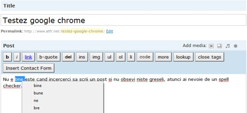 google chrome spell checker